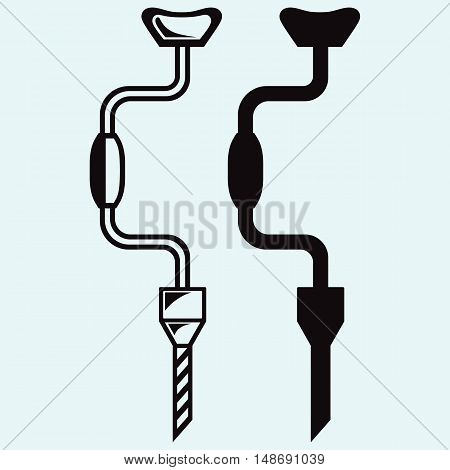 Symbol manual drill. Isolated on blue background. Vector silhouettes
