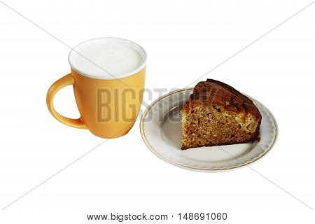 tasty and healthy cake and cup of milk for a healthy diet. isolated on white background without shadows. easy to cut to your design.