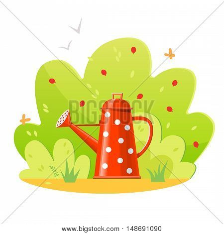 Beautiful garden with shrubs and watering can. Vector illustration EPS10