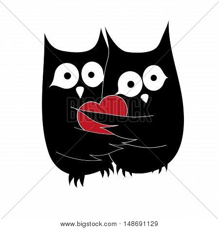 Owl couple in love. Vector illustration of two owls sharing heart.