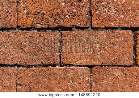 Texture Detailed Ancient Red Brick Wall