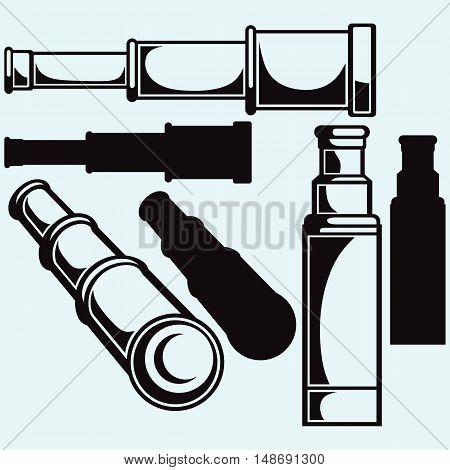 Spyglass. Isolated on blue background. Vector silhouettes