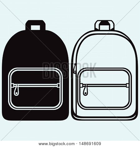 School bag. Isolated on blue background. Vector silhouettes