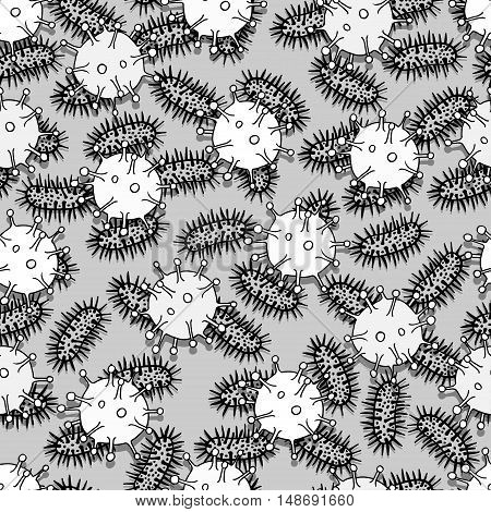 Seamless pattern of small virus, particles and molecules