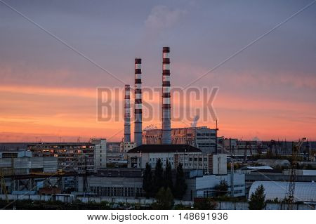 Tyumen, Russia - September 20, 2005: City Energy and Warm Power Factory in twilight