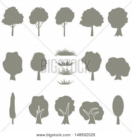Vector collection of tree silhouettes isolates on white background. Set of abstract stylized icons of trees and grass.