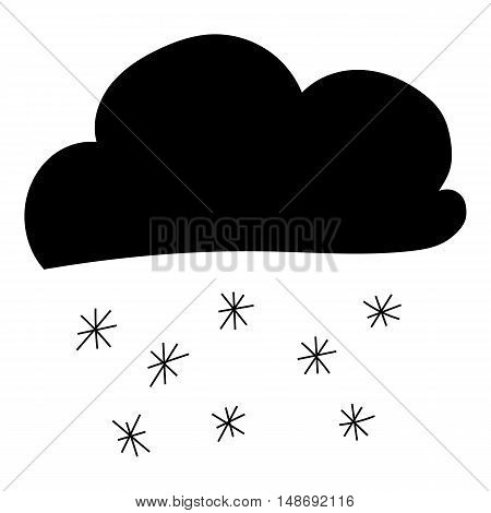 Cloud and snowflake icon in simple style on a white background vector illustration