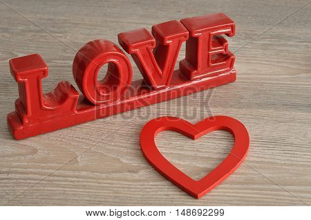 Valentine's Day. Love in red letters with a red heart