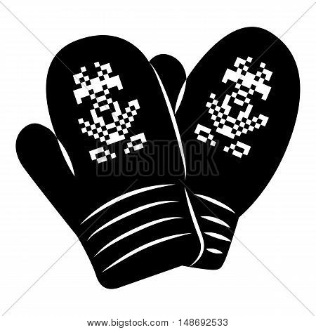 Pair of knitted mitten icon in simple style on a white background vector illustration