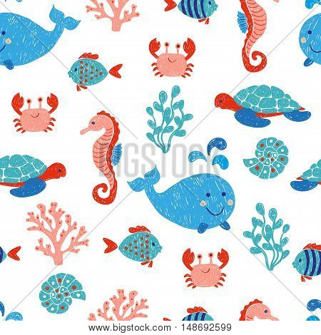 Cute sea animals seamless pattern in blue and pink colors. Vector background with children drawings of whale, turtle, sea horse and fishes.
