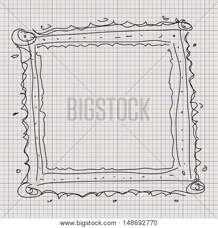 Doodle Sketch Of A Picture Frame On Graph Paper Background