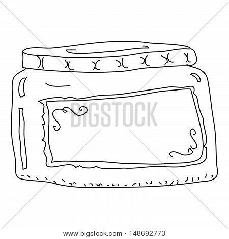 Doodle Sketch Of A Jar On White Background