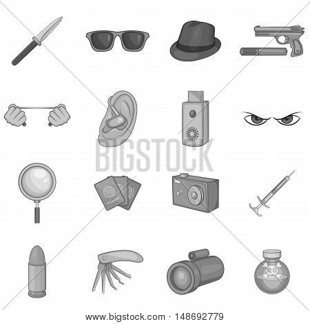Spy and security icons set in black monochrome style. Detective equipment set collection vector illustration