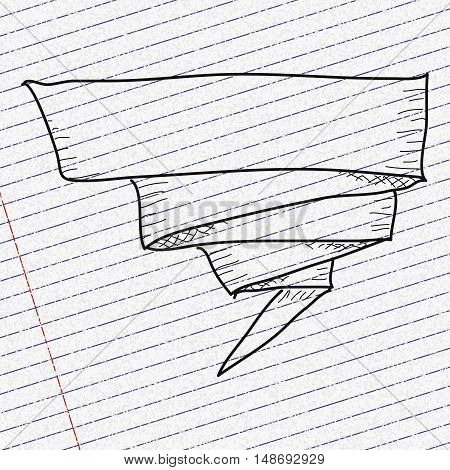 Doodle Sketch Of A Banner On Paper Background