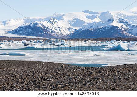 Iceland natural landscape in winter season background
