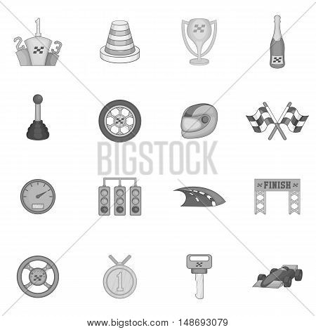 Car racing icons set in black monochrome style. Auto sport set collection vector illustration