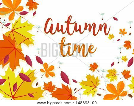 Autumn time background. Lettering decorated with autumn leaves.