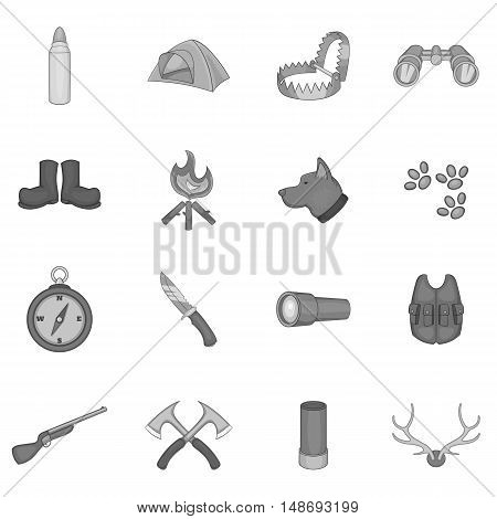 Hunting icons set in black monochrome style. Hunters equipment set collection vector illustration