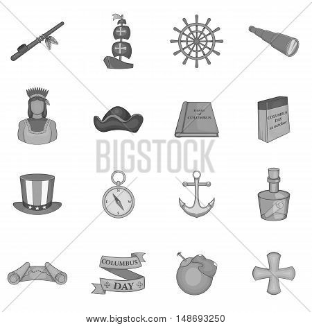 Columbus Day icons set in black monochrome style. Sailing equipment vector illustration