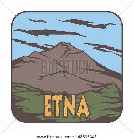 Vector image of a volcano  Etna on the background of nature and sky.square color thumbnail icon