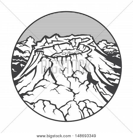 Vector image of a volcano Katmai on the background of nature and sky.round black white icon thumbnail