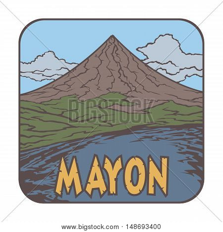 Vector image of a volcano Mayon on the background of nature and sky.square color thumbnail icon