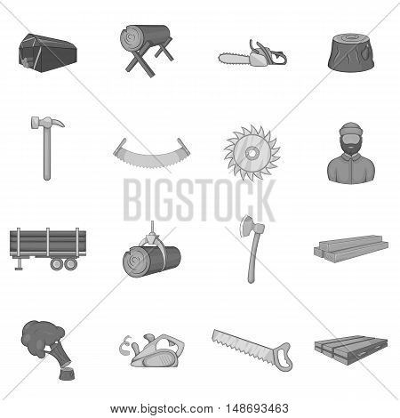 Timber industry icons set in black monochrome style. Lumberjack equipment set collection vector illustration