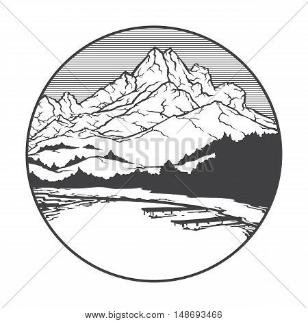 Vector image of a volcano Pelee on the background of nature and sky.round black white icon thumbnail