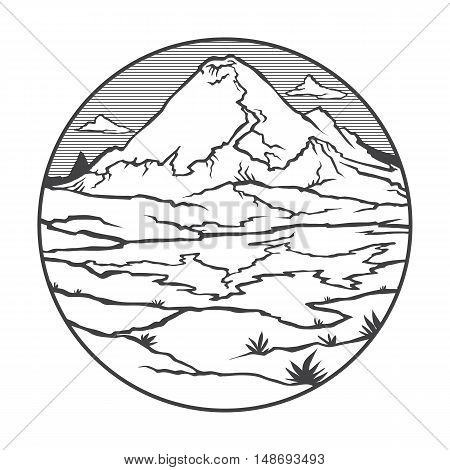 Vector image of a volcano Ruiz on the background of nature and sky.round black white icon thumbnail