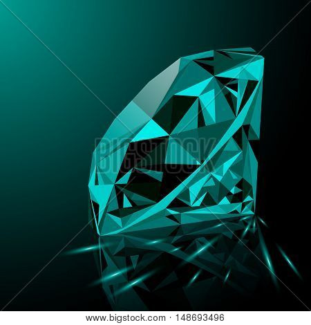 Realistic shining green emerald jewel with reflection green glow and light sparks on gradient background. Colorful gemstone that can be used as part of logo icon web decor or other design.