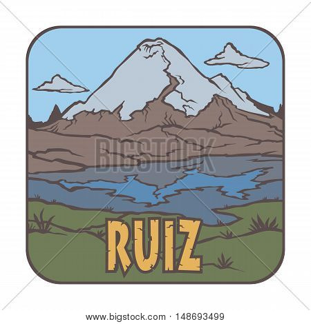 Vector image of a volcano Ruiz on the background of nature and sky.square color thumbnail icon