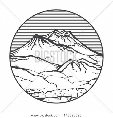 Vector image of a volcano Vesuvio on the background of nature and sky.round black white icon thumbnail