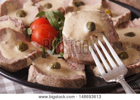 Italian Food: Vitello Tonnato Macro. Horizontal