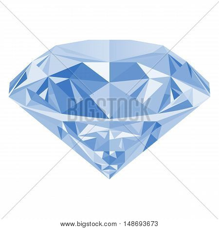 Realistic shining white diamond jewel isolated on white background. Colorful gemstone that can be used as part of logo icon web decor or other design.