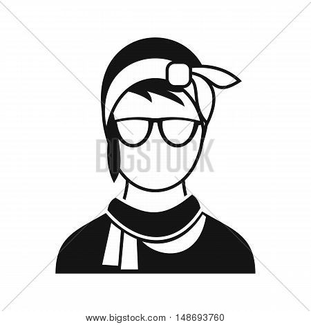 Hipster woman icon in simple style on a white background vector illustration