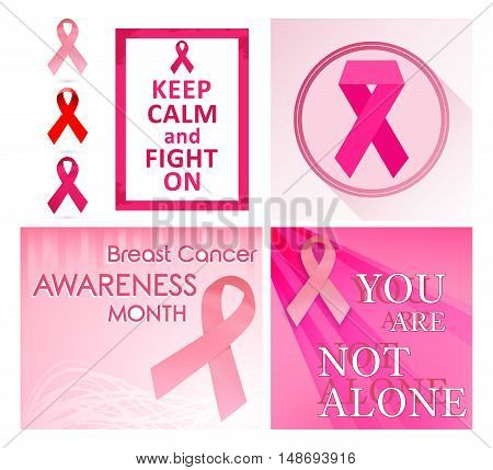 Breast cancer awareness month posters and pink ribbons. Vector illustration.