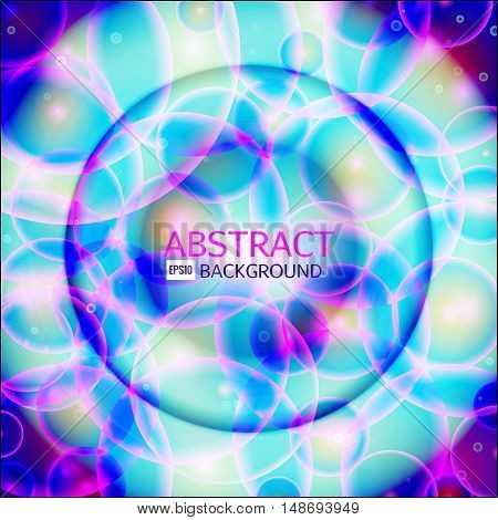 Shining circle banner. Glowing spiral. Vector illustration. Pink, purple, blue white colors abstract background