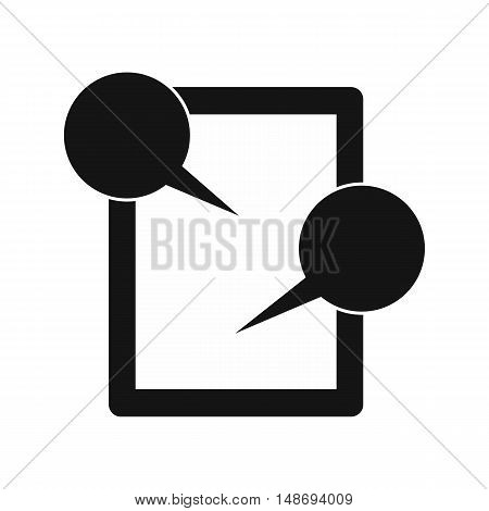 Tablet chatting icon in simple style on a white background vector illustration