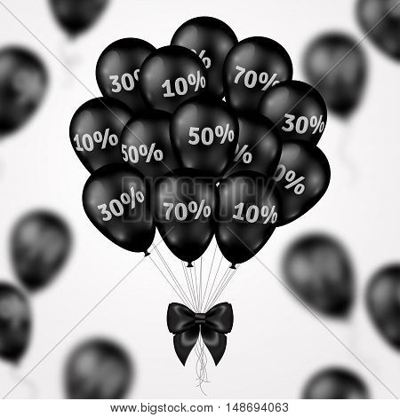 Black Friday Sale Poster with Dark Shiny Balloons Bunch on White Background. Vector illustration.