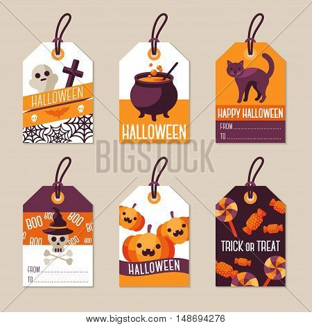 Set of Halloween Gift Tags. Vector Illustration. Flat Holiday Symbols.