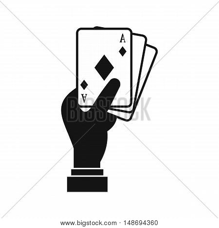 Hand holding playing cards icon in simple style on a white background vector illustration