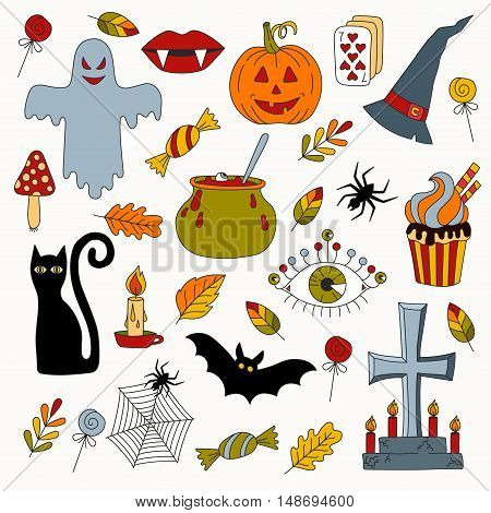 Halloween horror holidays scary cartoon symbols collection