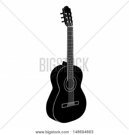 Acoustic Guitar. Black - white illyustratsiya.Izolirovanny vector objec