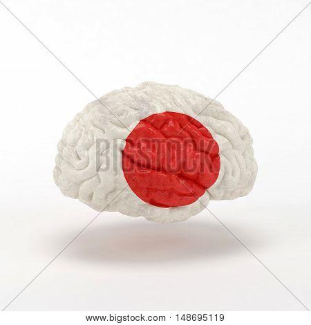 Japan Flag on Human brain. 3D illustration.