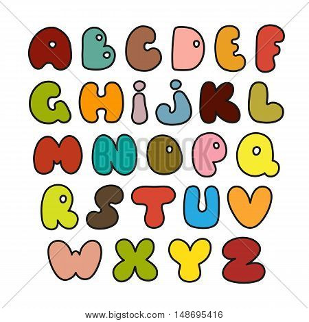 Hand drawn alphabet made in vector. Illustration of set of colorful alphabets.