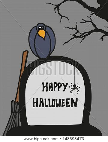 Halloween card with cemetery, grave and crow. Vector illustration.