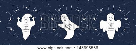 Funny ghosts flying in the night sky. Happy Halloween card. Hand Drawn design element.