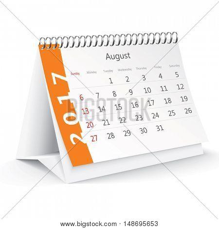 August 2017 desk calendar - vector illustration