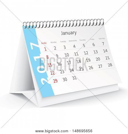 January 2017 desk calendar - vector illustration