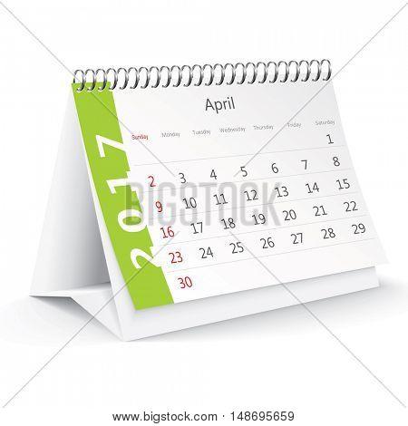 April 2017 desk calendar - vector illustration